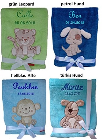 Babydecke bestickt mit Namen und Datum -