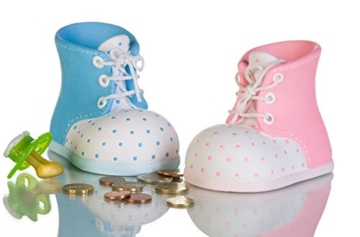 Spardose Sparbüchse Babyschuh aus Keramik (blau) -