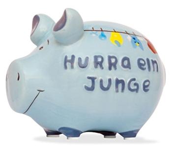 Sparschwein Spardose Sparbüchse Hurra ein Junge Geldgeschenk Geburt -
