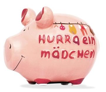 Sparschwein Spardose Sparbüchse Hurra ein Mädchen Geldgeschenk Geburt -