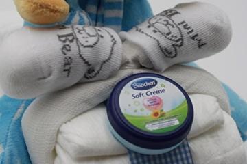 Windeltorte Windelmotorrad blau für Jungen – mit Teddybär / Das perfekte Geschenk zur Geburt oder Taufe + gratis Grußkärtchen -