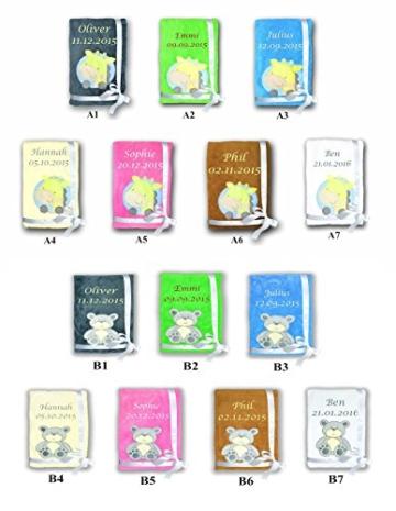 Amilian® Kuschlige Babydecke SUPER FLAUSCHIG mit Namen und Datum bestickt Kinderdecke -