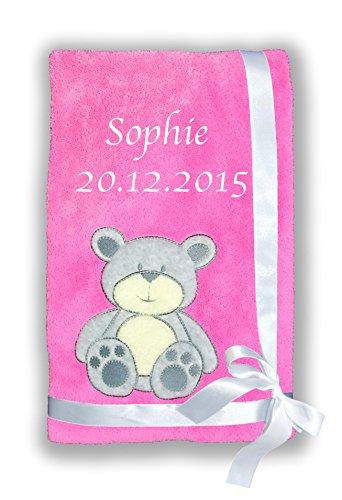 Amilian® Kuschlige Babydecke SUPER FLAUSCHIG mit Namen und Datum bestickt Kinderdecke B5 -