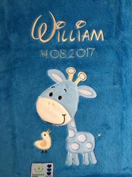 Babydecke bestickt mit Name und Geburtsdatum / kuschelig weich / 1A Qualität (Blau - GIRAFFE) -