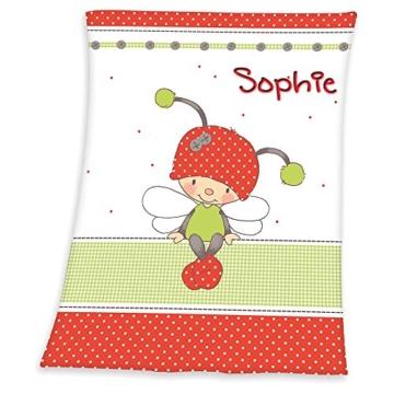 Babydecke mit Namen bestickt Decke 75x100 cm Geschenk zur Taufe zur Geburt Kinderdecke Drache Bär Schmetterling Hase (Käferchen) -