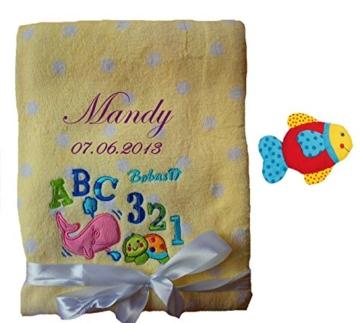 Babydecke mit Namen bestickt inkl. Rassel -