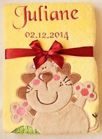 Babydecke mit Namen und Datum bestickt Schmusedecke Geschenk Taufe Geburt (Gelb 1) -