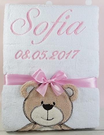 ★ Babydecke mit Namen und Datum bestickt ★ Baby Geschenke ★ Geburt ★ Taufe ★ -