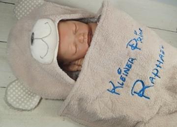 Zweilagige Babydecke mit Namen und Datum bestickt - Wagendecke - 3D Motiven - (Beige Teddybär) -