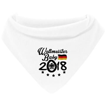 Mikalino Baby Halstuch Bandana Weltmeister Baby 2018 mit Klettverschluss passend zur WM in Russland, Farbe:weiss -
