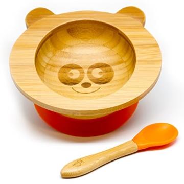 """Baby Schüssel aus Bambus mit rutschfestem Saugnapf und passendem Babylöffel von""""Kleiner Fuchs"""" (Panda) - 1"""