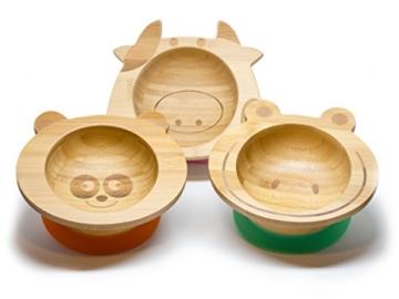 Baby Schüssel aus Bambus mit rutschfestem Saugnapf und passendem Babylöffel von