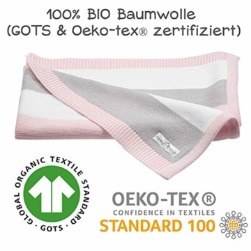 Babydecke aus 100% Bio Baumwolle in rosa für Mädchen von MINKY MOOH® - Die Strickdecke ist ideal als Schmusedecke oder Kuscheldecke - das #1 Neugeborenen Geschenk zur Geburt - 2