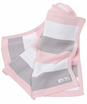 Babydecke aus 100% Bio Baumwolle in rosa für Mädchen von MINKY MOOH® - Die Strickdecke ist ideal als Schmusedecke oder Kuscheldecke - das #1 Neugeborenen Geschenk zur Geburt - 1