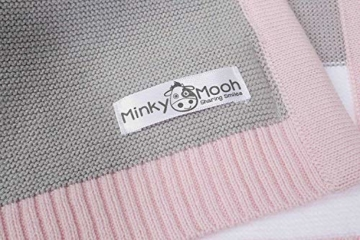 Babydecke aus 100% Bio Baumwolle in rosa für Mädchen von MINKY MOOH® - Die Strickdecke ist ideal als Schmusedecke oder Kuscheldecke - das #1 Neugeborenen Geschenk zur Geburt - 6