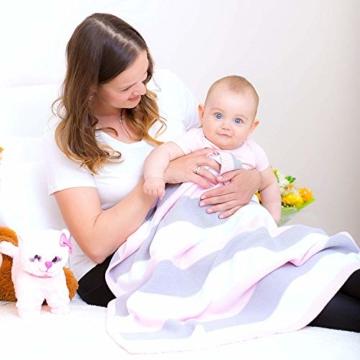 Babydecke aus 100% Bio Baumwolle in rosa für Mädchen von MINKY MOOH® - Die Strickdecke ist ideal als Schmusedecke oder Kuscheldecke - das #1 Neugeborenen Geschenk zur Geburt - 8