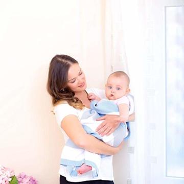 Babydecke aus 100% Bio Baumwolle in rosa für Mädchen von MINKY MOOH® - Die Strickdecke ist ideal als Schmusedecke oder Kuscheldecke - das #1 Neugeborenen Geschenk zur Geburt - 9