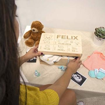 LAUBLUST Holzkiste mit Gravur Personalisiert ❤️ Teddybär Motiv ❤️ Zur Geburt - 30x20x14cm, Natur, FSC® - 2