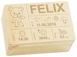 LAUBLUST Holzkiste mit Gravur Personalisiert ❤️ Teddybär Motiv ❤️ Zur Geburt - 30x20x14cm, Natur, FSC® - 1