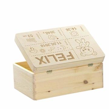LAUBLUST Holzkiste mit Gravur Personalisiert ❤️ Teddybär Motiv ❤️ Zur Geburt - 30x20x14cm, Natur, FSC® - 5
