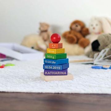 LAUBLUST Stapelturm Personalisiert mit Wunsch-Gravur - Motorikspielzeug für Kinder - Bunt, Holz, ca. 11 x 11 x 19 cm - 2