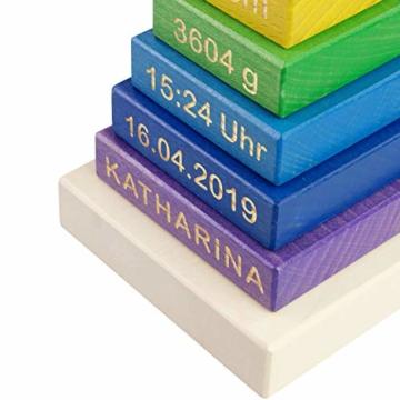 LAUBLUST Stapelturm Personalisiert mit Wunsch-Gravur - Motorikspielzeug für Kinder - Bunt, Holz, ca. 11 x 11 x 19 cm - 5