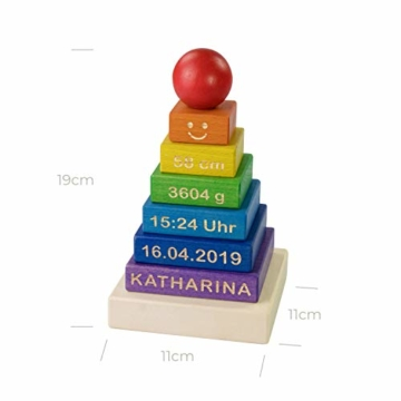 LAUBLUST Stapelturm Personalisiert mit Wunsch-Gravur - Motorikspielzeug für Kinder - Bunt, Holz, ca. 11 x 11 x 19 cm - 6