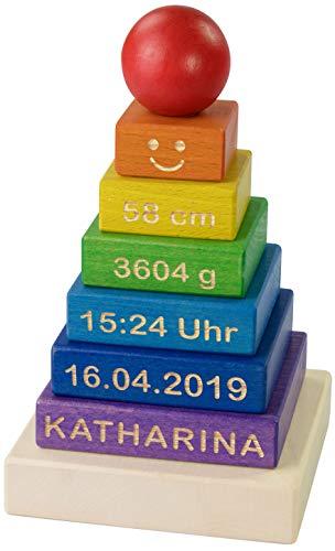 LAUBLUST Stapelturm Personalisiert mit Wunsch-Gravur - Motorikspielzeug für Kinder - Bunt, Holz, ca. 11 x 11 x 19 cm - 1