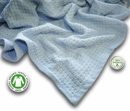 Zoog Bio-Baumwolle Natürlich gefärbte Premium Qualität GOTS Zertifiziert Nicht-chemisch Ungiftig 100% Bio-Baumwolle Sanft Gestrickt 76cm x 101cm Babyblaue und Rosa Decke für Kleinkinder (Blau) - 1