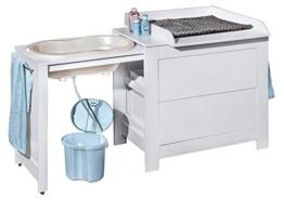 Belivin® 3in1 Wickelkommode weiß | Wickeltisch weiß | ausziehbare Badewanne | umbaubar zur normalen Kommode | große Schubladen | inkl. extra großen abnembaren Wickelaufsatz | besonders stabil - 1