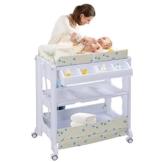 COSTWAY 2 in 1 Mobiler Wickeltisch Badewanne | Wickelkommode Baby Bade | Wickelkombination Wickelauflage Kommode| Wickelregal (weiß) - 1