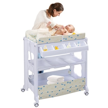 COSTWAY 2 in 1 Mobiler Wickeltisch Badewanne | Wickelkommode Baby Bade | Wickelkombination Wickelauflage Kommode| Wickelregal (weiß) - 1