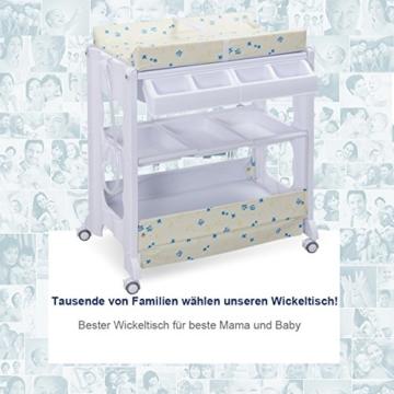COSTWAY 2 in 1 Mobiler Wickeltisch Badewanne | Wickelkommode Baby Bade | Wickelkombination Wickelauflage Kommode| Wickelregal (weiß) - 5