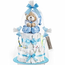 Timfanie® Windeltorte | Spieluhr Bär | 2-stöckig | baby-blau | Windeln Gr. 2 | ohne Gravur - 1