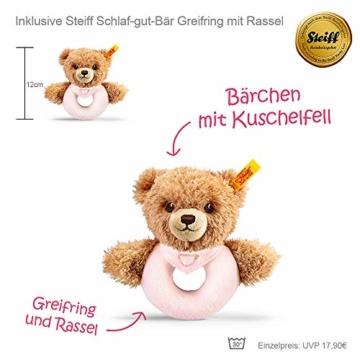 Timfanie® Windeltorte | Steiff Bärchen Rassel |1-stöckig | rosa-punkt | Windeln Gr. 2 (Baby 4-8 Kg) - 2