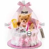 Timfanie® Windeltorte | Steiff Bärchen Rassel |1-stöckig | rosa-punkt | Windeln Gr. 2 (Baby 4-8 Kg) - 1