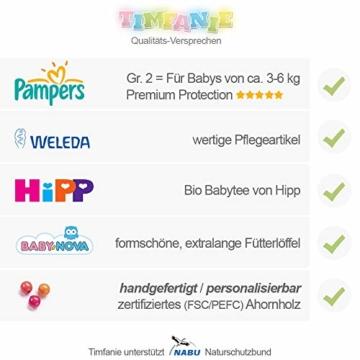 Timfanie® Windeltorte | Steiff Bärchen Rassel |1-stöckig | rosa-punkt | Windeln Gr. 2 (Baby 4-8 Kg) - 7
