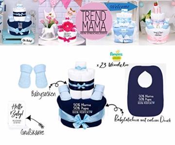 Trend Mama Windeltorte blau-hellblau Junge Lätzchen Babysocken 50% Mama, 50% Papa,100% Perfekt - 2