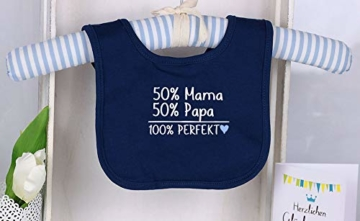 Trend Mama Windeltorte blau-hellblau Junge Lätzchen Babysocken 50% Mama, 50% Papa,100% Perfekt - 3