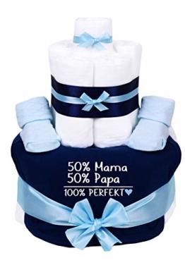 Trend Mama Windeltorte blau-hellblau Junge Lätzchen Babysocken 50% Mama, 50% Papa,100% Perfekt - 1
