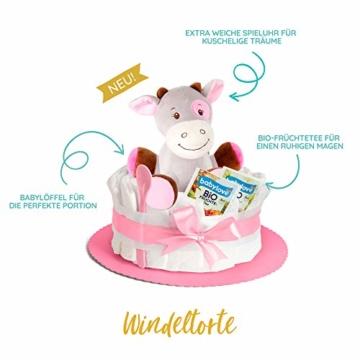 Windeltorte in Rosa mit Pony-Spieluhr von Homery, perfekt als Geschenk für Mädchen zur Baby-Party oder Geburt – Handmade fair hergestellt - 2