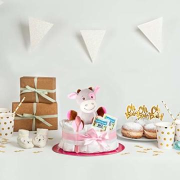 Windeltorte in Rosa mit Pony-Spieluhr von Homery, perfekt als Geschenk für Mädchen zur Baby-Party oder Geburt – Handmade fair hergestellt - 4