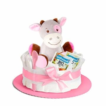 Windeltorte in Rosa mit Pony-Spieluhr von Homery, perfekt als Geschenk für Mädchen zur Baby-Party oder Geburt – Handmade fair hergestellt - 1