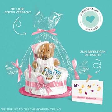 Windeltorte in Rosa mit Pony-Spieluhr von Homery, perfekt als Geschenk für Mädchen zur Baby-Party oder Geburt – Handmade fair hergestellt - 6