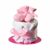 """Windeltorte mit Baby-Socken""""Süßes Törtchen"""" von Homery - wählbar für Jungen und Mädchen mit Glückwunschkarte - Handmade fair hergestellt (Rosa - Mädchen, Törtchen) - 1"""