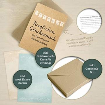 FÜR ZWILLINGE: 30+1 Meilenstein Foto- und Erinnerungs-Karten als Geschenk zur Geburt - mit Baby-Tagebuch, inkl. Geschenkbox und Glückwunsch-Karte - DIN A6 - 2
