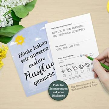 FÜR ZWILLINGE: 30+1 Meilenstein Foto- und Erinnerungs-Karten als Geschenk zur Geburt - mit Baby-Tagebuch, inkl. Geschenkbox und Glückwunsch-Karte - DIN A6 - 3
