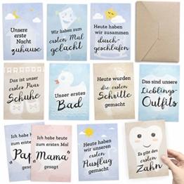 FÜR ZWILLINGE: 30+1 Meilenstein Foto- und Erinnerungs-Karten als Geschenk zur Geburt - mit Baby-Tagebuch, inkl. Geschenkbox und Glückwunsch-Karte - DIN A6 - 1