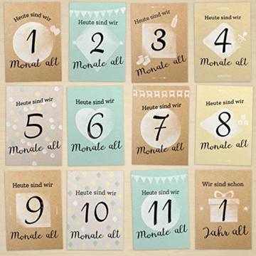 FÜR ZWILLINGE: 30+1 Meilenstein Foto- und Erinnerungs-Karten als Geschenk zur Geburt - mit Baby-Tagebuch, inkl. Geschenkbox und Glückwunsch-Karte - DIN A6 - 5