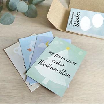 FÜR ZWILLINGE: 30+1 Meilenstein Foto- und Erinnerungs-Karten als Geschenk zur Geburt - mit Baby-Tagebuch, inkl. Geschenkbox und Glückwunsch-Karte - DIN A6 - 7